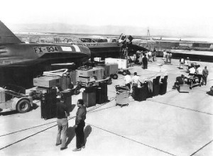 YF12 / A12 Prototype at Area51. Please observe the tool desks and adjustable craft benches in the foreground.