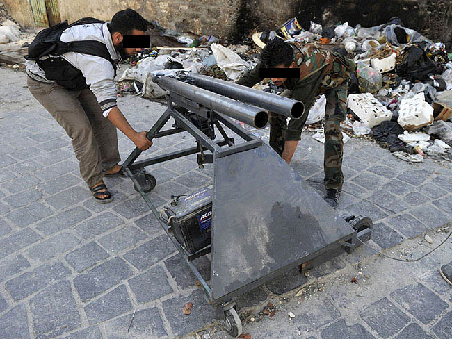 Homemade mortar launcher in Aleppo